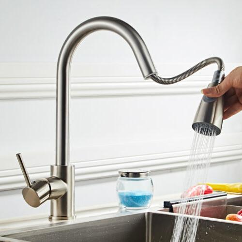 "US 16"" Kitchen Sink Faucet Pull-out Spray Swivel Spout Dispe"