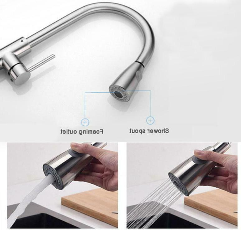 Brushed Kitchen Sink Faucet Pull Sprayer Hole Swivel New