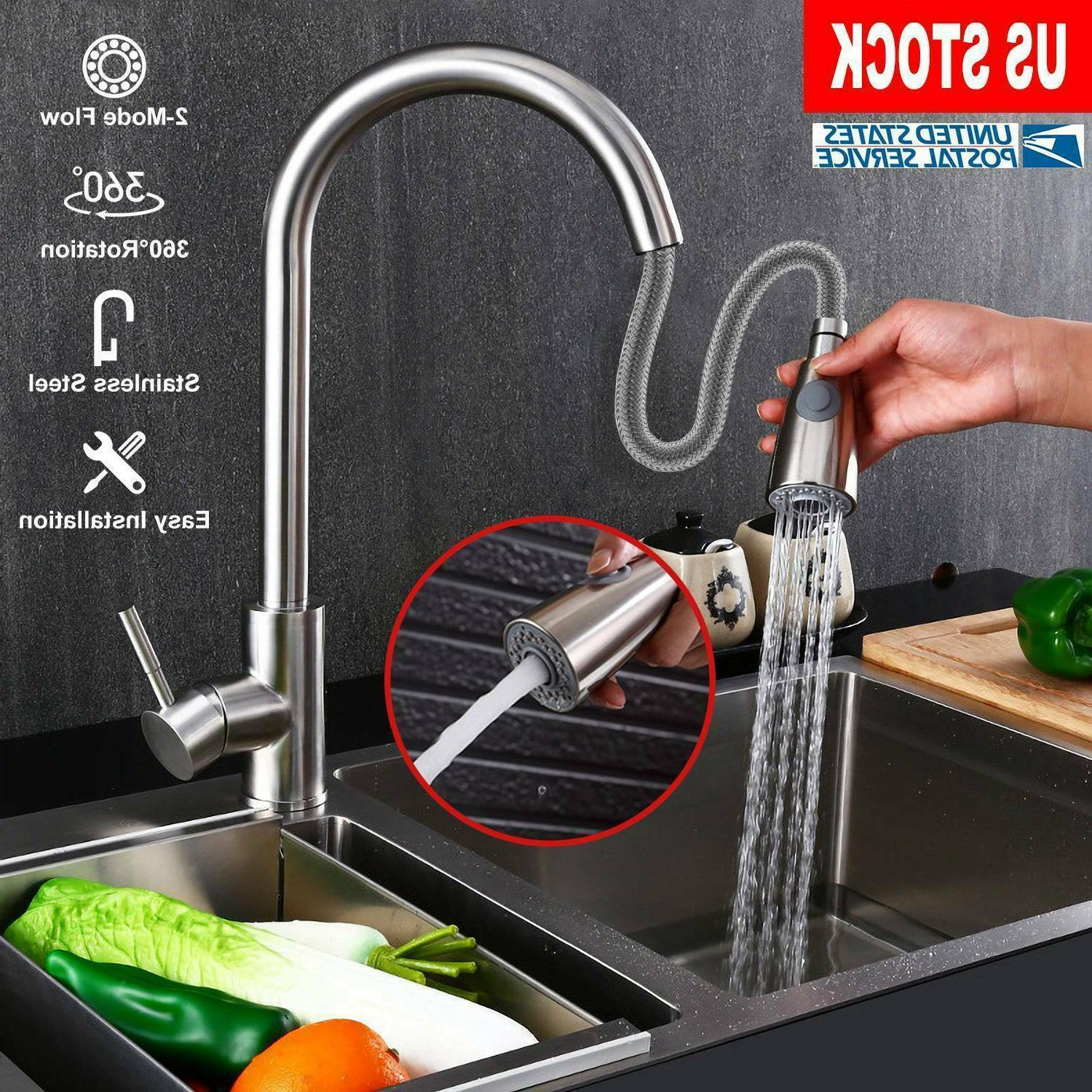 Brushed Kitchen Sink Pull Out Sprayer Hole Swivel Mixer New