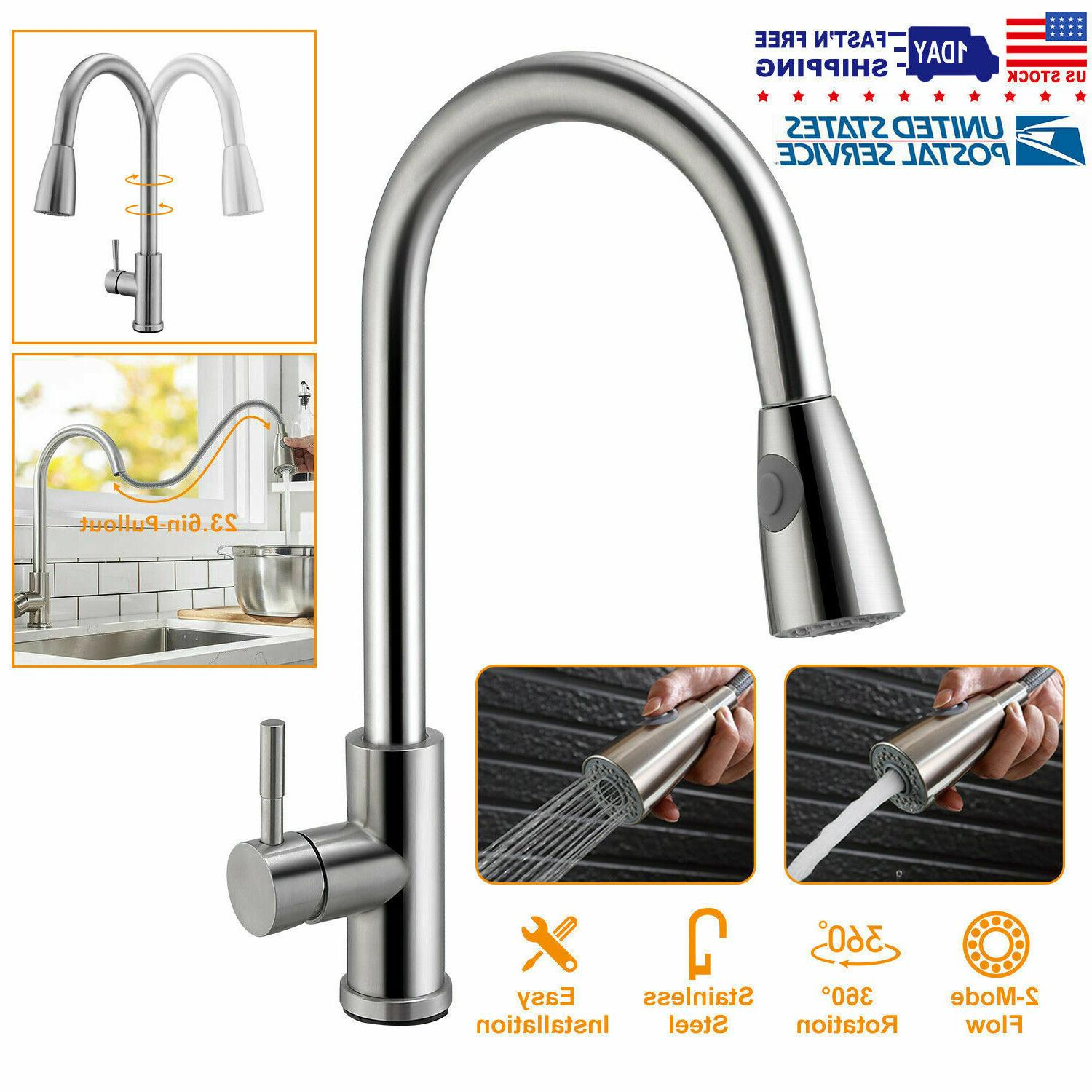 brushed kitchen sink pull out sprayer single
