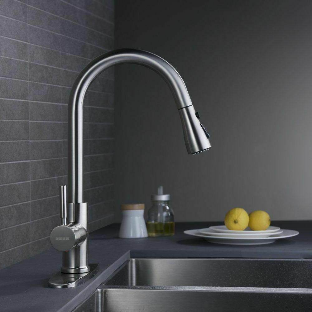 Single Faucet Pull Spray Brushed With Cover