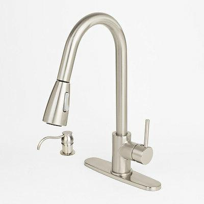 Brushed Nickel Kitchen Sink Faucet Pull-Out Spray With Soap