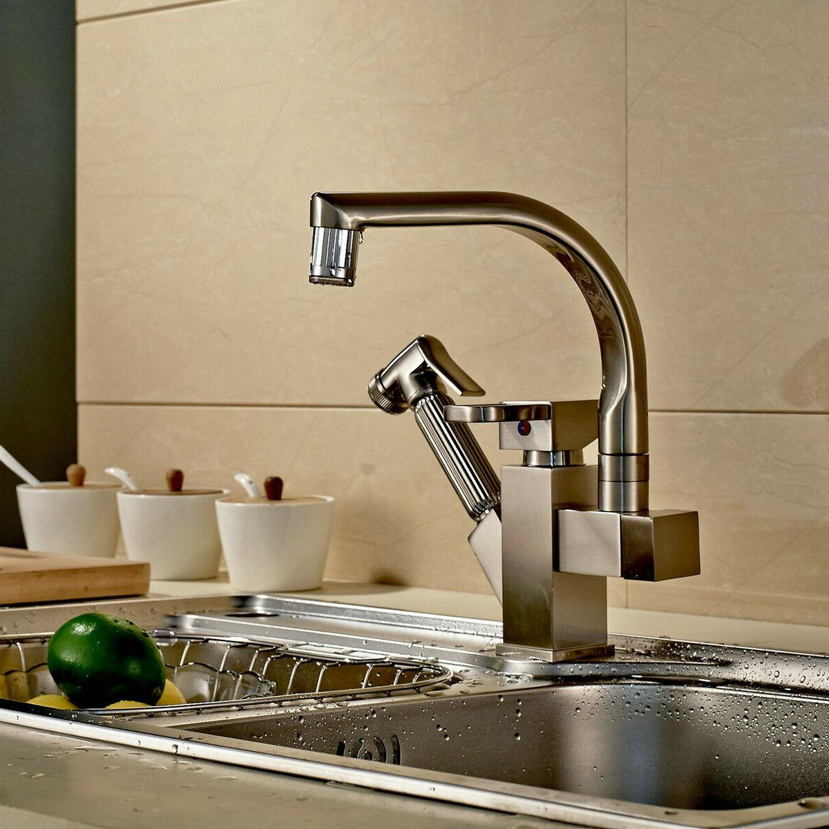 Brushed LED Spout Pull Spray Tap