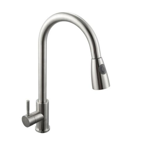 Brushed Nickel Sink Faucet Pull Out Bar Single Hole Tap