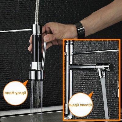 Chrome Kitchen Spout Single Handle Pull Down Spray Mixer Tap