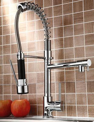 Chrome Kitchen Faucet Swivel Spout Single Handle Sink Pull D