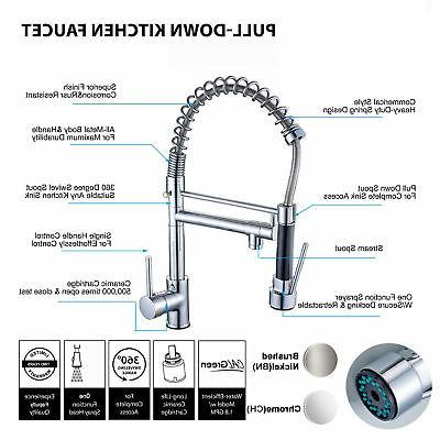 Chrome Kitchen Swivel Spout Pull Mixer