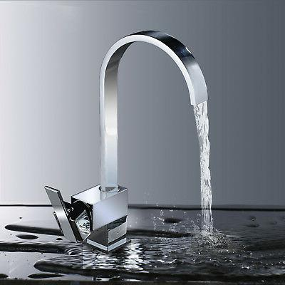Chrome Swivel Single Lever Kitchen Sink Faucet Pull Down Spr