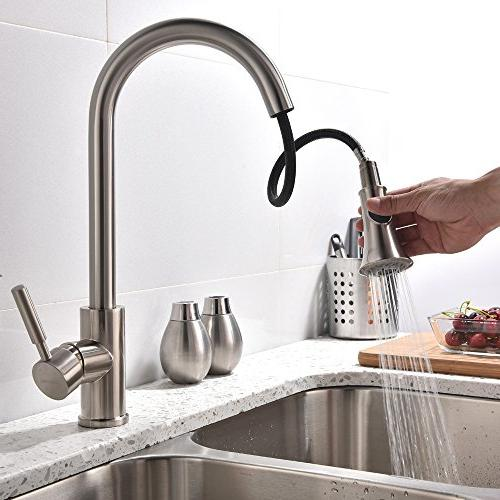 Hotis Comercial Nickel Prep Handle Pull Down Prep Sprayer Kitchen Kitchen Sink Faucet without Deck Plate