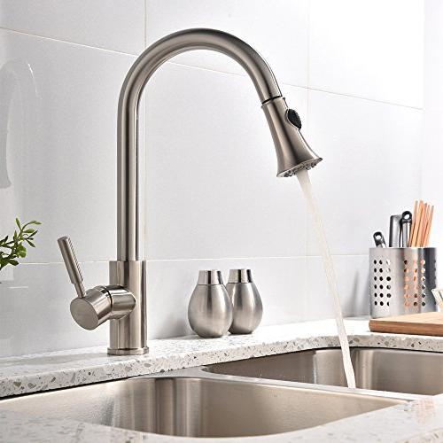 Hotis Comercial Pull 360 Degree Swivel Nickel Prep Pull Down Prep Sprayer Kitchen Faucet