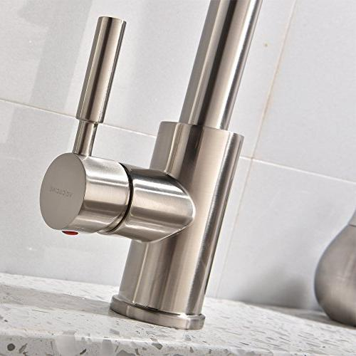 Hotis Pull 360 Degree Brushed Nickel Handle Pull Kitchen Faucet, Kitchen Faucet
