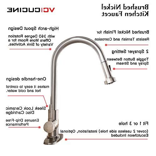 VCCUCINE Stainless Steel Pull Down Nickel Faucet,Pull Out Kitchen Escutcheon