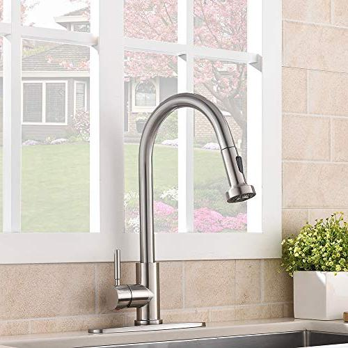 VCCUCINE Commercial Stainless Pull Down Sprayer Nickel Sink Out Faucet with Escutcheon