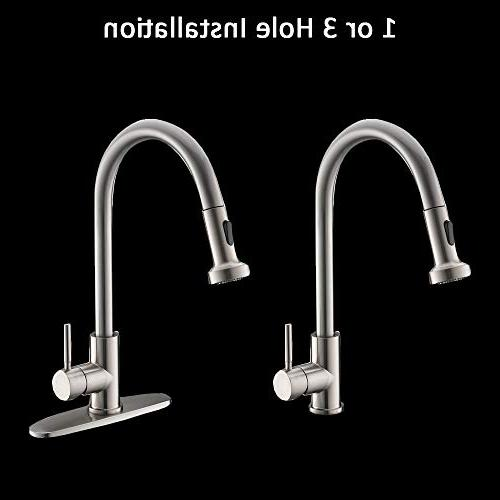 VCCUCINE Commercial Arc Stainless Steel Pull Down Nickel Kitchen Faucet,Pull Out Faucet Escutcheon