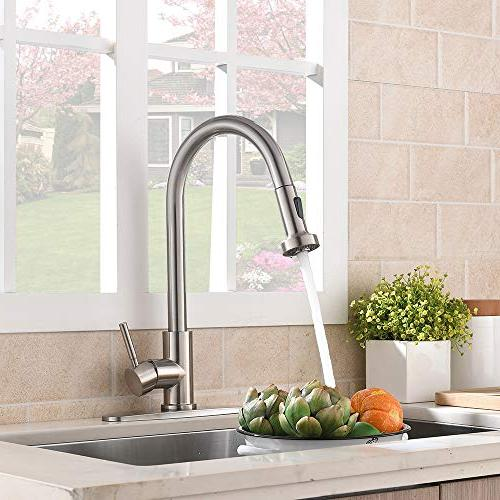VCCUCINE Commercial Stainless Steel Pull Sprayer Brushed Nickel Faucet,Pull