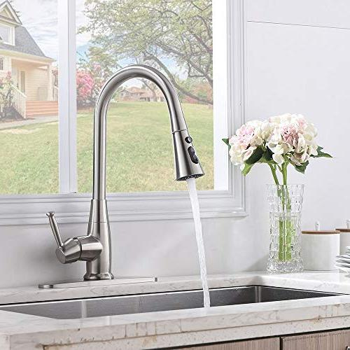 Friho Commercial Brushed Stainless Free Single Out Sprayer Kitchen Pull Faucets with 3