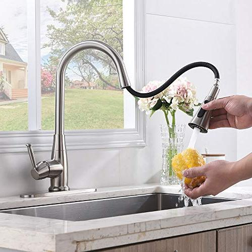 Friho Nickel Stainless Steel Single Handle Sprayer Kitchen Pull Faucets with Setting