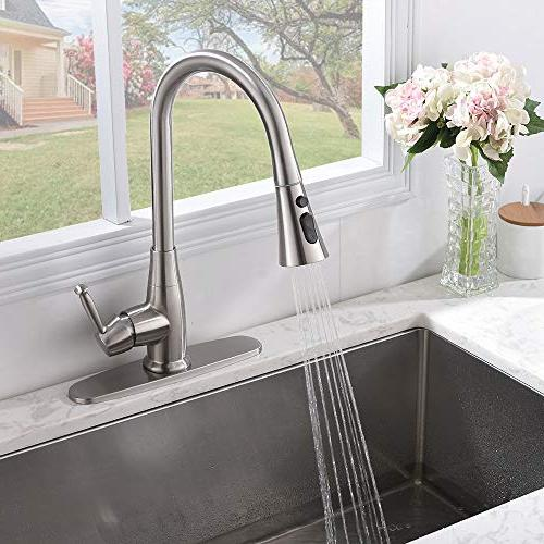 Friho Commercial Stainless Lead Free Single Out Sprayer Sink Faucet, Pull with Sprayer