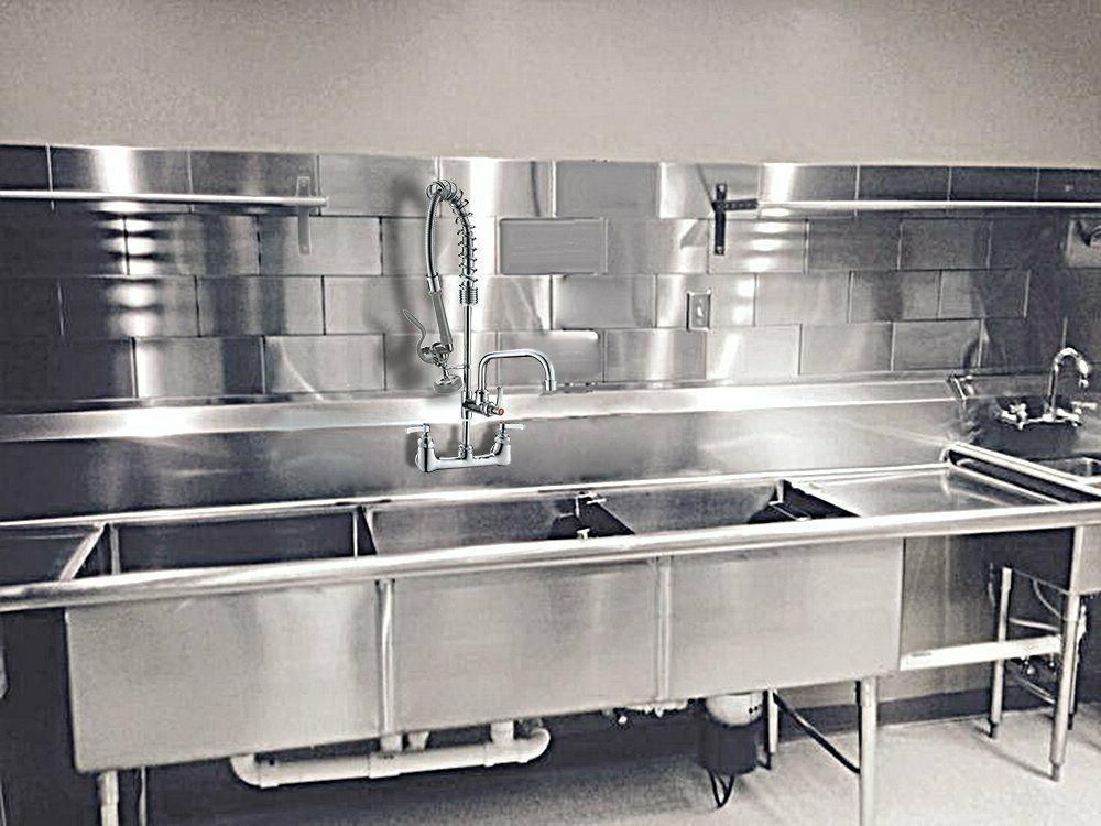 Commercial Sink Pull Center Mount Rinse
