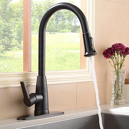 Hotis Commercial Down Prep Single Handle Pull Kitchen Faucet, Oil Faucets Plate