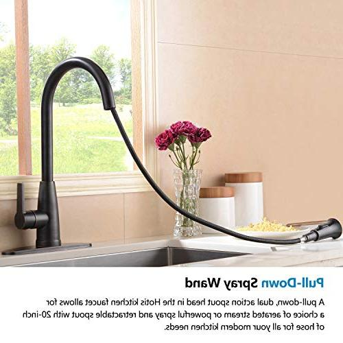 Hotis Commercial Prep Sprayer Single Single Pull Down Kitchen Faucet, Oil Rubbed Bronze Faucets with