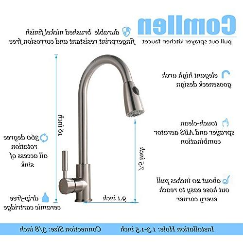 Comllen Single High Arc Brushed Pull out Kitchen Faucet, Single Kitchen Pull Down Deck