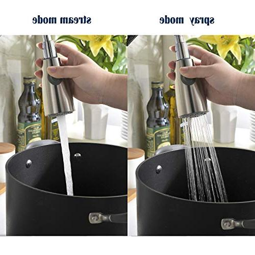 Comllen Handle High Arc Nickel Pull Single Stainless Kitchen Sink Pull Down Sprayer Deck Plate