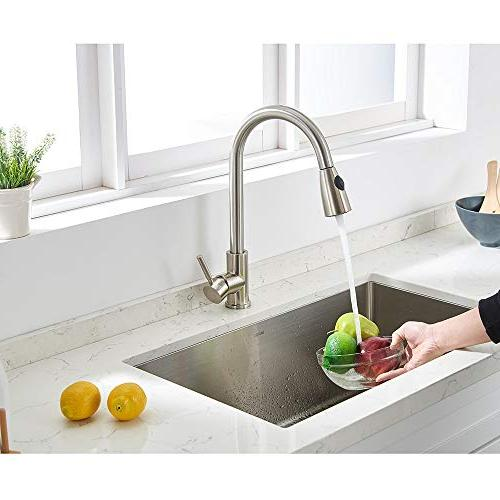 VAPSINT Commercial Single Handle High Arc Free Brushed Down Kitchen Faucet, Stainless Kitchen Sink without Deck Plate