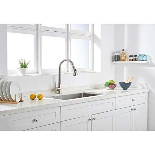 VAPSINT Commercial Single High Brushed Kitchen Faucet, Steel Kitchen Sink Faucets Deck Plate