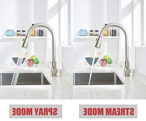 VAPSINT Handle High Lead Free Brushed Kitchen Faucet, Stainless Kitchen Deck