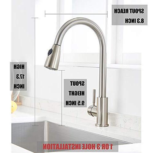 VAPSINT Single High Arc Lead Brushed Nickel Pull Kitchen Faucet, Kitchen