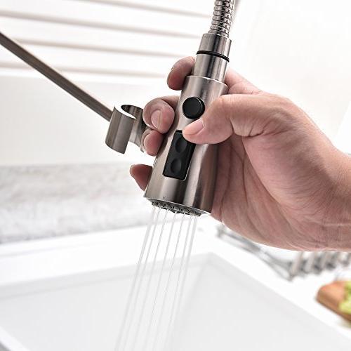 Hotis Commercial Spring degree Swivel Single Single Prep Sprayer Sink Faucet, Brushed Nickel