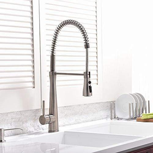 Hotis Commercial degree Single Lever Stainless Prep Kitchen Sink Faucet, Brushed