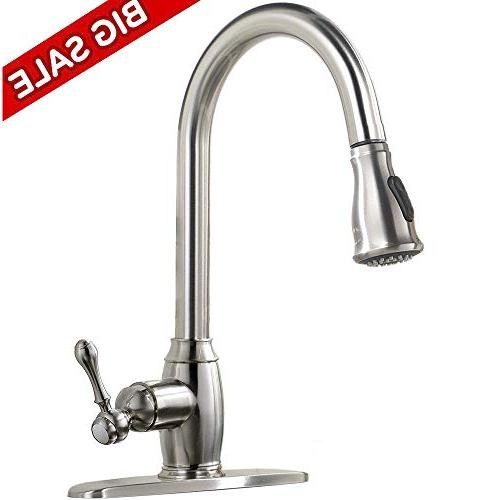 Best Stainless Single Pull Sprayer Faucet, Out Faucets Brushed Nickel