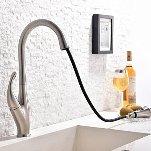 Commercial Stainless Steel Single Handle Pull Down Nickel Kitchen Faucet