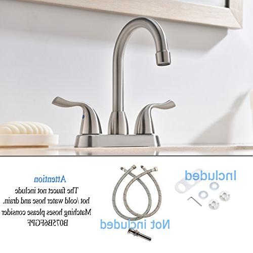 Hotis Commercial Two Stainless Brushed Nickel Bathroom Faucet, Lavatory Faucets Without Pop-Up Drain