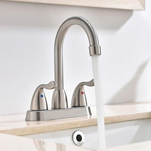 Hotis Commercial Stainless Bathroom Faucet, Lavatory Bathroom Faucets Without Pop-Up