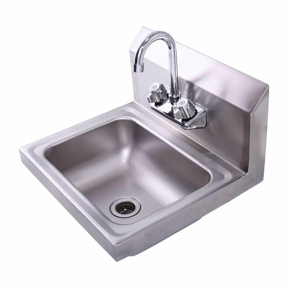 Commercial Wall Mount Kitchen Hand Wash Sink NSF Stainless S