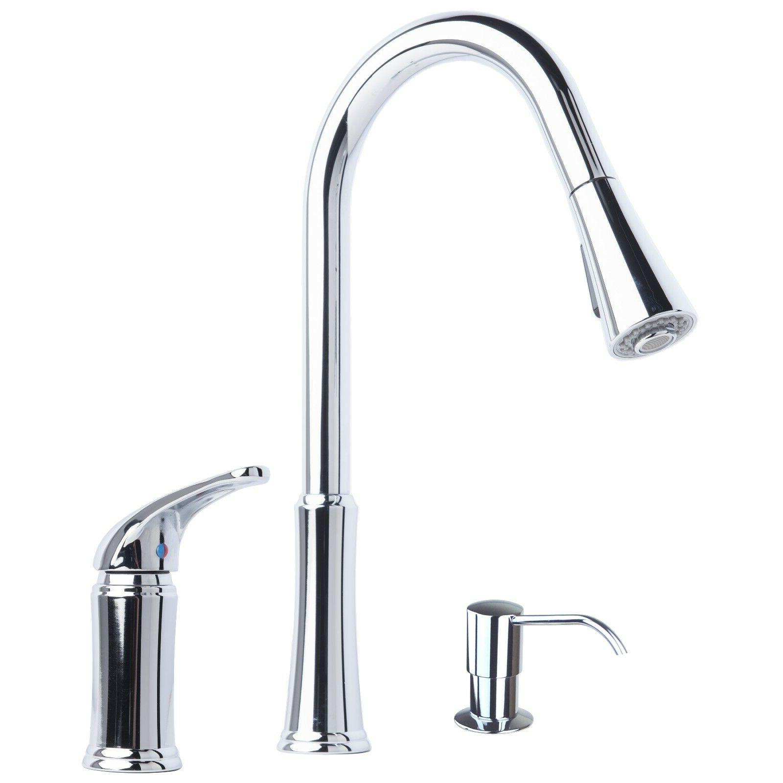 Contemporary Pull-Down Kitchen Faucet with Soap Dispenser Ch