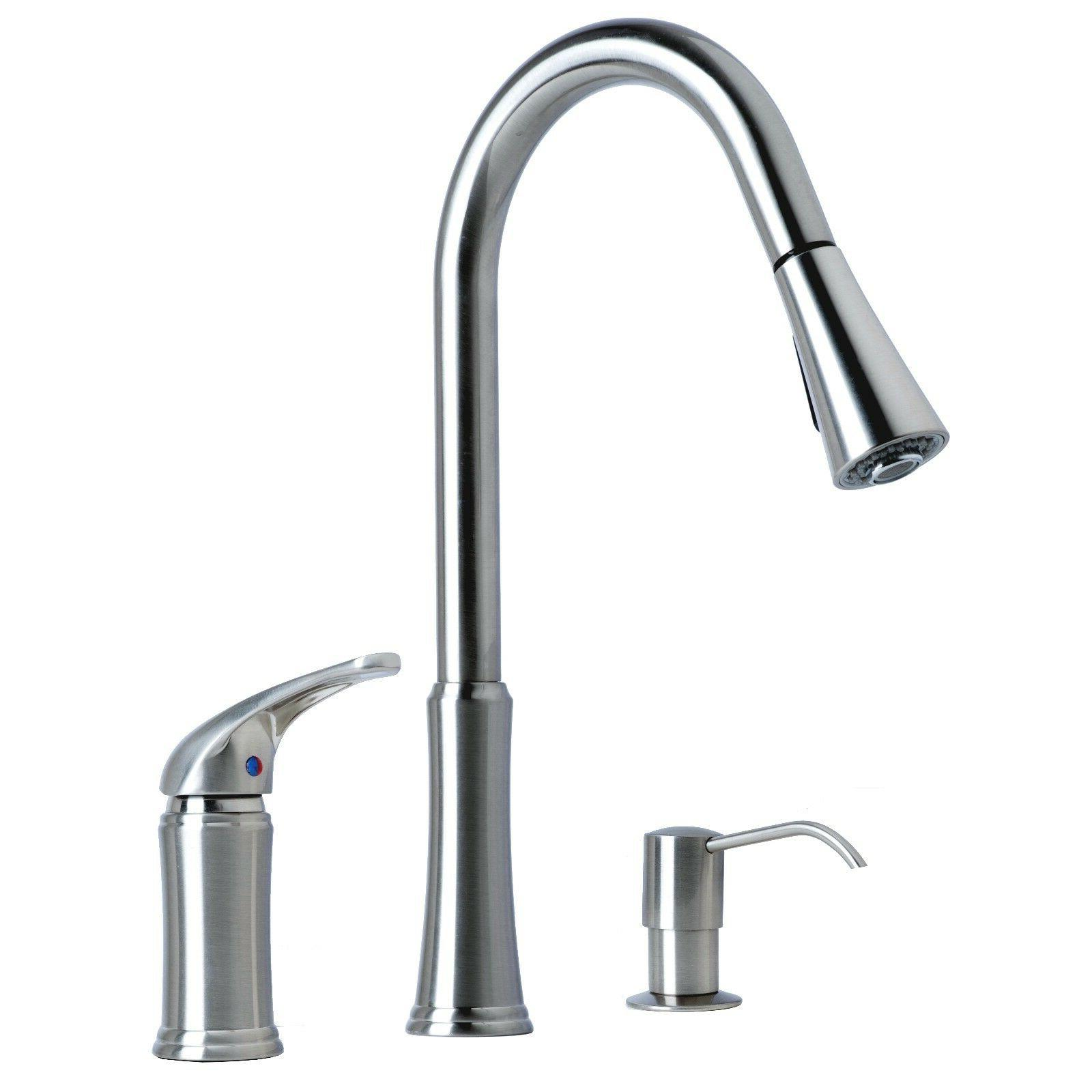 Contemporary Pull-Down Kitchen Faucet with Soap Dispenser St