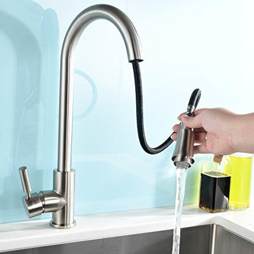 VAPSINT Contemporary Single Stainless Kitchen Faucet,Pull Sprayer