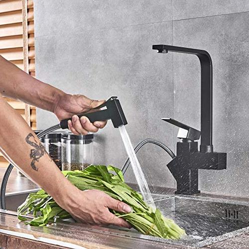 Rozin Mounted out Sprayer Faucet Swivel Mixer Tap Black Color