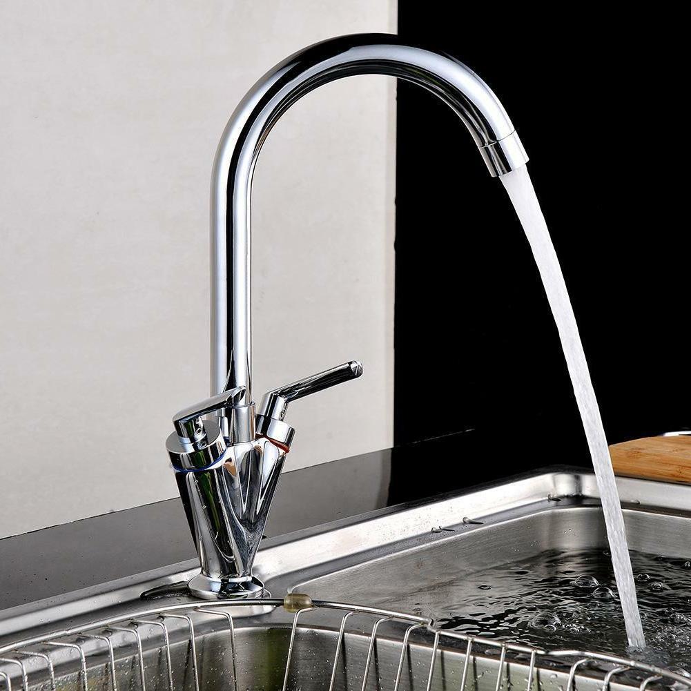 Double Lever Swivel Kitchen Mixer Tap Nozzle Modern Sink Bas