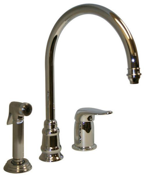 Whitehaus Evolution Three Holes Gooseneck Kitchen Faucet wit