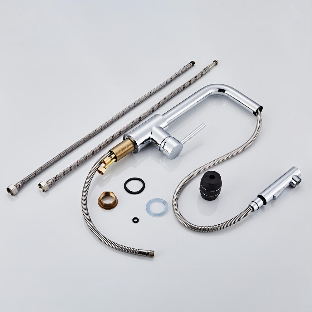 <font><b>Kitchen</b></font> <font><b>chrome</b></font> Handle Pull Out Tap Single Hole Handle Swivel 360 Degree Mixer Tap Tap CF-9116