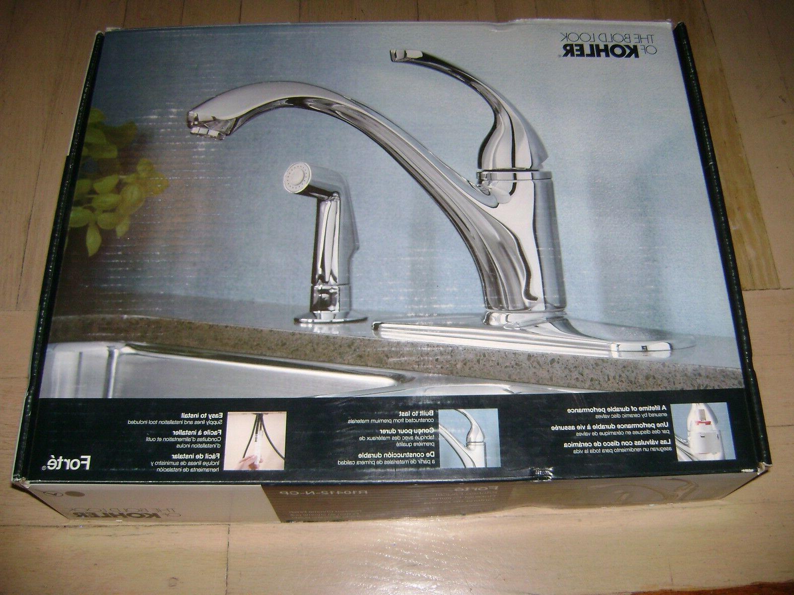"""Kohler Forté 4-hole Chrome Kitchen Sink Faucet with 9-1/16"""""""
