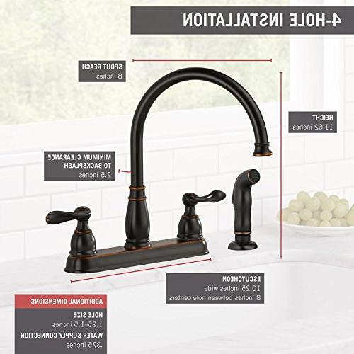 Oil Rubbed Bronze 21996LF-OB Delta Faucet Windemere 2-Handle Kitchen Sink Faucet with Side Sprayer in Matching Finish