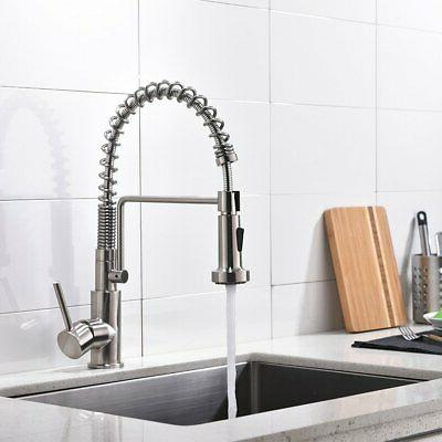 Friho Lead-Free Brushed Kitchen Faucet Stainless Steel Pull Sprayer
