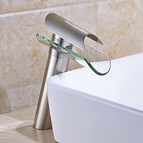 glass spout bathroom sink faucet