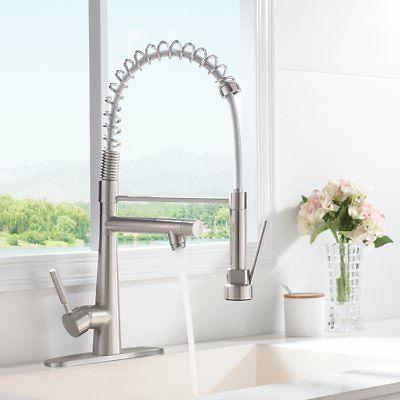 VAPSINT Arch Commercial Brushed Kitchen Faucet, Single Handle